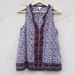 Soft Joie Ivory Floral Lavan Blouse Top Size XS